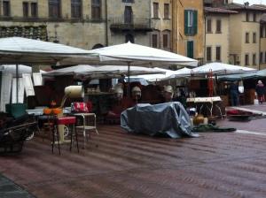 First day of Antique Fair--rain