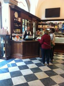 Massimo at the till at Stefano's